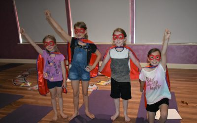 4 grandchildren wearingHero Capes and feeling empowered at the Jazzy, Pinky & the Energy Ball program
